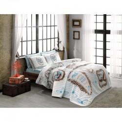 Набор постельного белья TAC ранфорс + плед - Camille turkuaz V3 евро