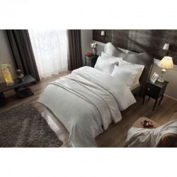 Набор постельное белье жаккардовый сатин с покрывалом и полотенцами Tac - Avon ekru евро