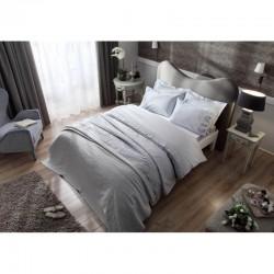 Набор постельное белье жаккардовый сатин с покрывалом и полотенцами Tac - Avon gri евр