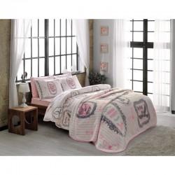 Набор постельного белья TAC ранфорс + плед - Camille pembe V1 евро