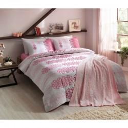 Набор постельного белья TAC ранфорс + плед вязанный Triko - Despina розовый V2 евро