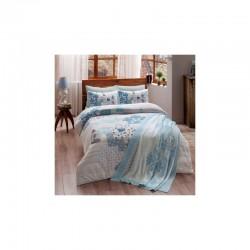 Набор постельного белья TAC ранфорс + плед вязанный Triko - Armina mavi V4 евро