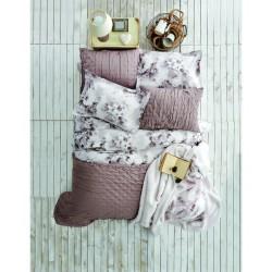Набор постельное белье с покрывалом Karaca Home - Madelin 2017-1 beige евро