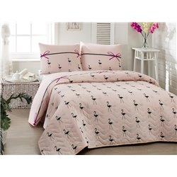 Покрывало стеганное с наволочкой Eponj Home - Flamingo Pudra голубое 160*220 полуторное