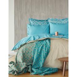 Набор постельного белья + плед Karaca Home 2017-1 - Misto turquise евро