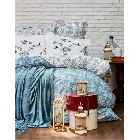Набор постельного белья Karaca Home + покрывало Mathis 2017-1 turquise евро
