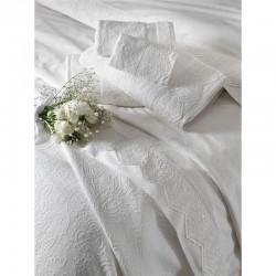 Набор постельное белье жаккардовый сатин с покрывалом и полотенцами Tac - Clodia ekru евро
