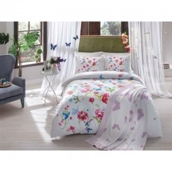 Набор постельного белья TAC ранфорс + плед вязанный Triko - Goldy lila V1 евро