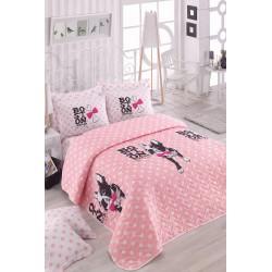 Покрывало стеганное с наволочками Eponj Home - Boston Pembe розовый 200*220