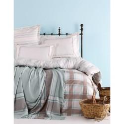 Набор постельное белье с пледом Karaca Home - Aron 2017-1 евро