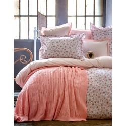 Набор постельное белье с пледом Karaca Home - Freya 2017-1 pink евро