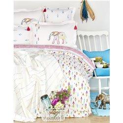 Набор постельное белье с покрывалом пике Karaca Home - Nora 2017-2 multi jacquard полуторное