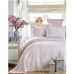 Набор постельное белье с покрывалом Karaca Home - Liza 2017-2 powder евро