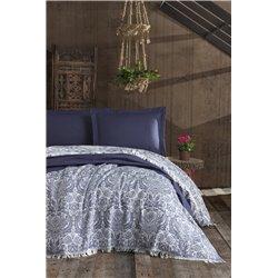 Покрывало Eponj Home Naturel - Porto lacivert синий 240*260
