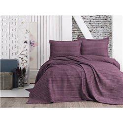 Покрывало с наволочками Eponj Home пике - Laden mor фиолетовый 220*240