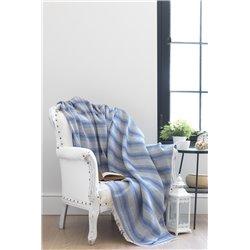 Покрывало хлопковое Eponj Home - Istanbull Kareli Mavi голубой 180*210