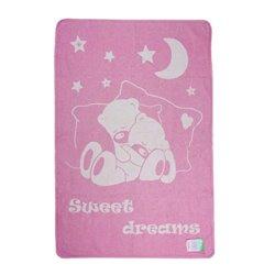 Детское одеяло хлопковое жаккардовое Vladi - 100*140 Сони ярко-розовое