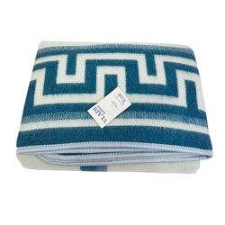 Одеяло шерстяное жаккардовое Vladi - Греция бело-голубое 200*220 евро