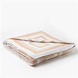 Одеяло хлопковое жаккардовое Vladi - Греция бело-бежевое 170*210 полуторное