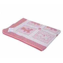 Детское одеяло хлопковое жаккардовое Vladi - 100*140 Барни бело-ярко-розовое