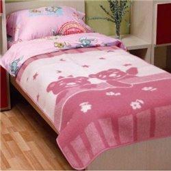 Детское одеяло шерстяное жаккардовое Vladi - 100*140 Умка розовое