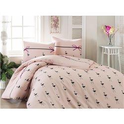 Постельное белье Eponj Home -  Flamingo Pudra ранфорс евро