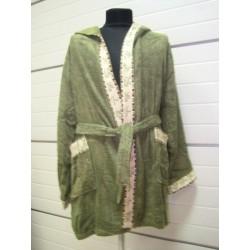 """Халаты """"Mariposa"""" бамбук 100%  короткий с капюшоном  темно-зеленый  кант: классик"""