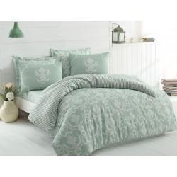 Постельное белье Eponj Home - Pure SuYesili зеленое ранфорс евро